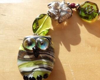 Tundra Owl -  OOAK Womens Bracelet - Hibou du Tundra - OOAK Bracelet pour Femmes