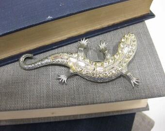 RARE Vintage Thelma Deutsch Rhinestone Gecko Lizard Brooch
