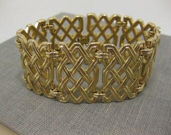 Crown Trifari Gold-Tone Basket Weave Panel Bracelet