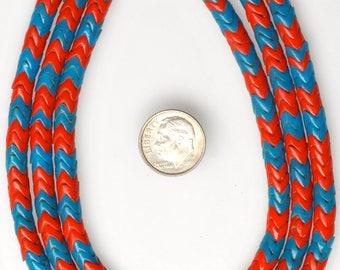 Extra Long 34 Inch Strand of 6mm Blue & Red French Snake Beads - Vintage African Trade Beads - #SNA328