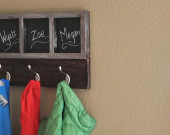Rustic Coat Rack with Reclaimed Barn Wood and Brushed Steel Frame, Chalkboard Paint Openings for names or reminders!