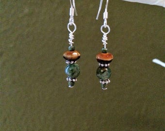 Amber Swirl Glass and Fancy Jasper stone Dangle Earrings Silver Plated Headpins and Ear Wires