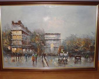 Painting Paris Arc de Triomphe - Impressionism - Champs Elysées French Oil Painting