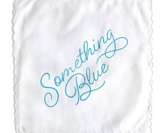 Something Blue White Handkerchief