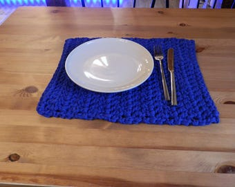 Two placemats in strong medium blue