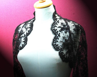 Lace Bolero. Wedding Bolero. Black Lace Bolero.  Long Sleeve Lace Bolero. Wedding Jacket. Bridal Bolero. Ready to Ship.
