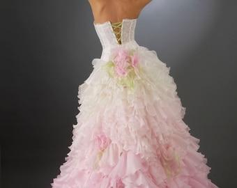 Ball Gown Silk Wedding Skirt. Fluffy Wedding Skirt. Ruffle Bridal Skirt. Bridal Separates. Princess Wedding Skirt. Pink Wedding Dress.