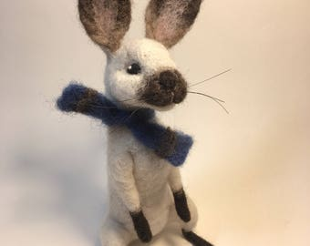 Needle Felted Bunny Rabbit, Wool Sculpture, Handmade Nursery Decor Gift