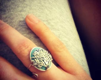 Ring tree on turquoise stone semi-precieuse