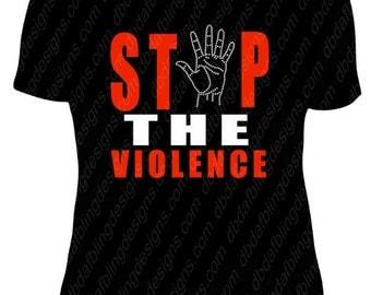 "Vinyl & Rhinestone hand ""STOP THE VIOLENCE"" Tee"