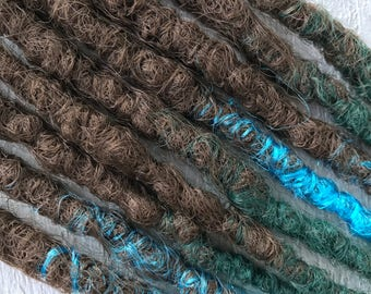 Custom order 5 DE Fox dreads in red brown / copper from Kanekalon