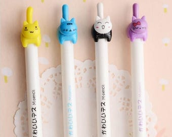 2 Pc Set ~ Japanese Cartoon Cat Mechanical Pencils, Funny Pencil, School Supplies, Planner Accessories, Writing Tools, Cute Cat Love Pencil