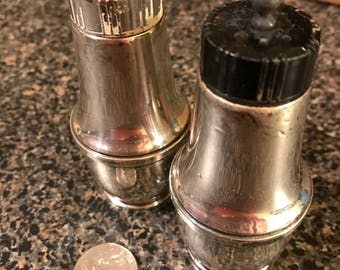 Sterling Silver Salt and Pepper Shaker with Plastic Lids