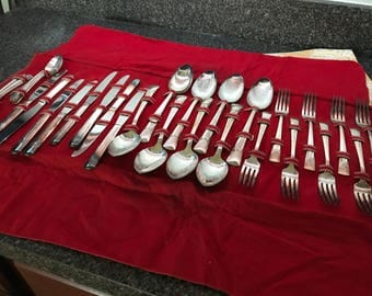 33 Pc Vintage Embassy Silverplate Flatware Set with Case