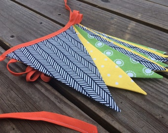 Orange Yellow Green Bunting, Fabric Flag Banner, Spring Bunting