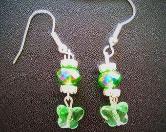 Green Crystal Butterfly Earrings