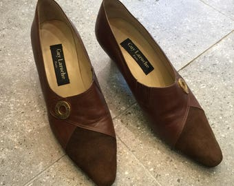 Vintage Guy Laroche Leather Pumps Heels With Suede Toe, 80s Women Shoes