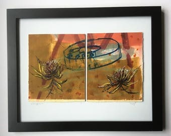 Floral, Still Life, Botanical Print, Framed Set Of Two, Flowers, Mixed Media, Monotype, Abstract Print, Perfect for Wedding or Anniversary