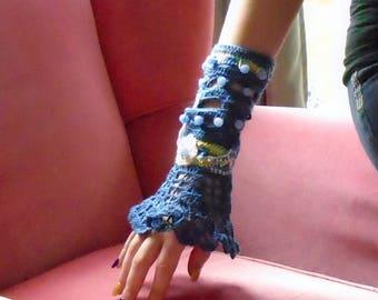 Blue Bead Crocheted  Fingerless Glove