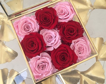 9 Eternity Roses In A Square Glass and Brass Vintage Box