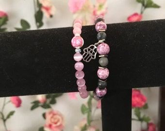 HANDMADE black and pink stretchy bracelet set