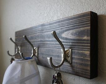Modern Rustic 3 Hook Entryway Coat Rack