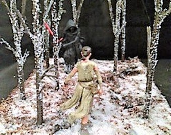 Kylo Ren and Rey Confrontation from The Force Awakens model/diorama