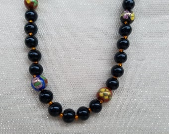 "30 inch Black Glass & ""Cloisonné"" Ceramic Bead Necklace, Jet Black Beads, Copper Glass Seed Beads, Cloisonne Accent Beadds, Simple, Elegant"