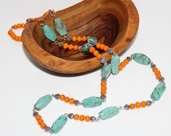 Orange and turquoise beaded necklace