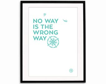No way is the wrong way A3 print - Teal compass travel direction swallows