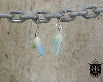 Earrings vintage feather chain