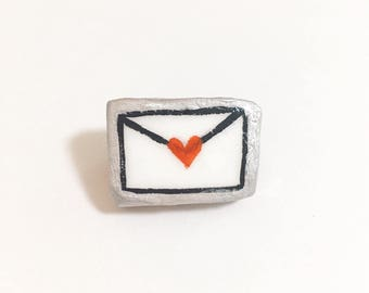 love/envelope/Brooch / Pin ,Tiny painting, ornament,Polymer clay ,Acrylic paint ,Handpainted