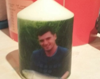 "Personalized 4"" candle with your photo"