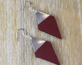 Jane diamond leather Burgundy and Silver earrings