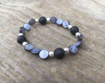 Black Shell Diffuser Bracelet