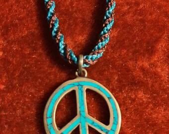 Handmade macrame peace symbol necklace
