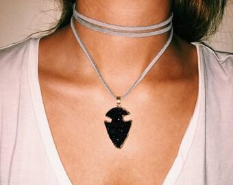 Black arrow necklace