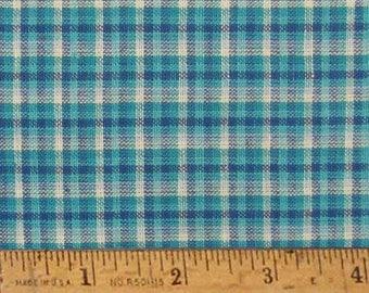"Sky Blue Plaid Homespun Fabric (Full Yard 36"" x 44"")"