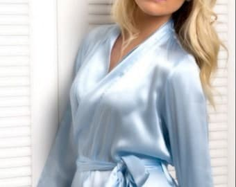 Lissome Silk Robe - ICY BLUE