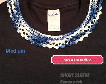 Navy Blue with Crochet Collar
