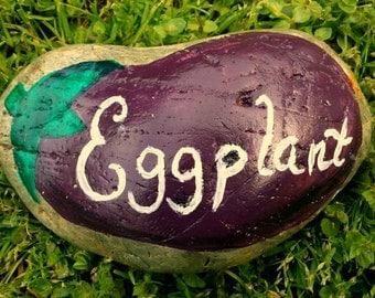 River Rock Garden Marker- Eggplant