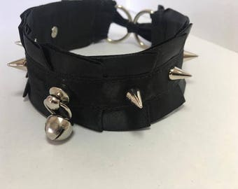 Pleated Satin Collar- Black (With Spikes and Bell)