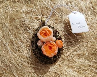 Pink peony flowers necklace. Pink peony pendant necklace shabby Chic jewelry. Polymer clay peony jewelry handmade
