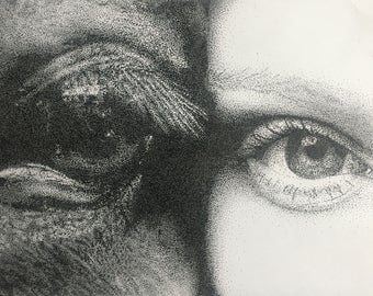 Horse and Human Eye Stipple (Print)