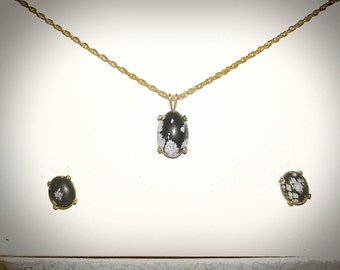 Snowflake Obsidian Necklace and Earring gift set