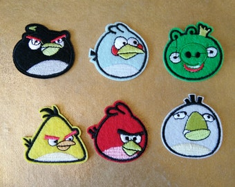A Set of Angry Birds Iron On Patches