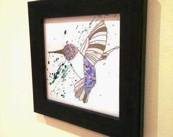 Square Hummingbird paint splatter framed painting