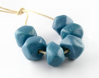 Ceramic Beads diamond shape 12mm in Denim Blue set of 6 beads ErikMakesBeads