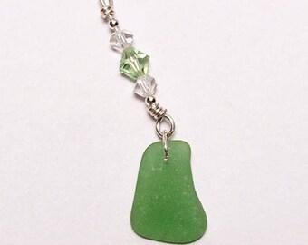 Kelly Green Sea Glass with Swarovski Crystals