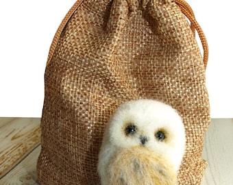 Felt Craft Brooch - The Owl - Handmade Wool NeedleFelted Jewelry - Lapel Pin - Stud Brooch